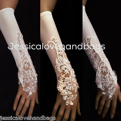UK-15'' Satin Bridal Opera Party Fancy Dress Glove Elbow Length Beads Emboidered