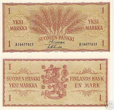 FINLAND 1 Marka Banknote World Paper Money Currency p98 1963 BILL Note Europe