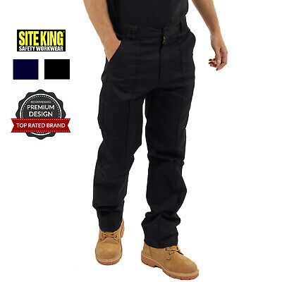 Mens Classic Work Trousers Size 28 to 56 in Black or Navy By SITE KING - 001