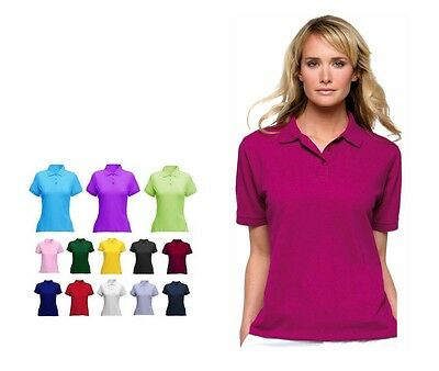 Ladies Classic Pique Polo T Shirt Size 8 to 22 - SPORTS CASUAL WORK LEISURE 106