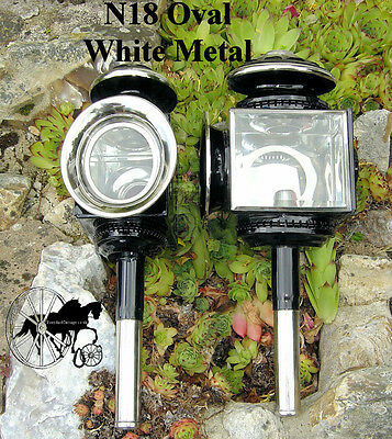 Horse Carriage Coach Lamps Brass Or White Metal Oval Style N18 N19 Pony Cob