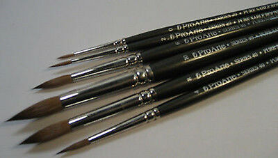Pro Arte Artists PURE SABLE 6 Brush Set. Watercolour Painting - Good sizes!