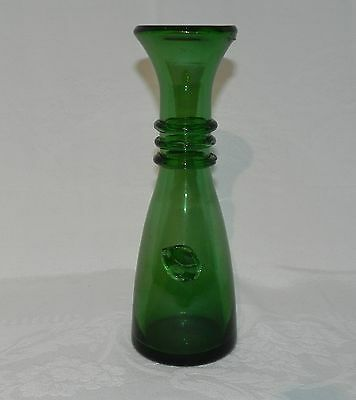 Art Glass - Italian - Vintage - Empoli Verde Bottle - Threading and Prunt