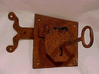 PRIMATIVE vintage Hand Forged LOCK SET/Iron- Steel/Jail?Lockbox?Trunk?Storeroom?