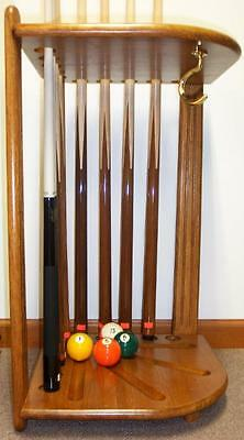 Deluxe solid Hard Wood Corner cue stand HOLDS CUES & BALLS - COLOR OPTIONS