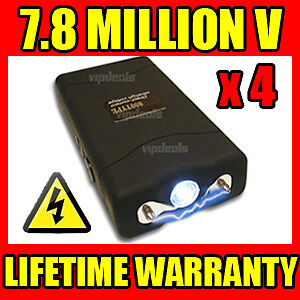 (4) LOT PHX-800 7.8 Million Volt Mini Stun Gun LED Light Self Defense Wholesale