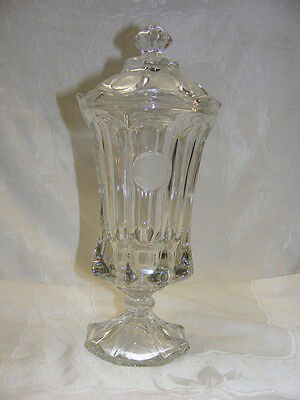 Vintage Coin Glass Fostoria Tall Footed Crystal Urn with Lid