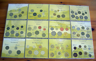 12 NATION PRE EURO ZONE COIN COLLECTION in 12 INDIVIDUAL CD TYPE CASES with INFO
