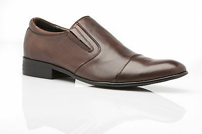 New Mens Zasel Dress Coffee Brown Leather Slip On Loafers Men's Dress Work Shoes