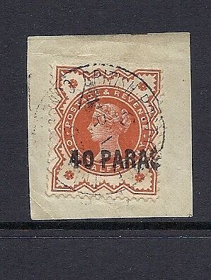 GREAT BRITAIN 1893 40 PARA local cancel Scott 6 VF USED on piece