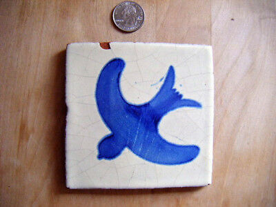 antique bluebird tile handpainted Cobalt blue terraCota