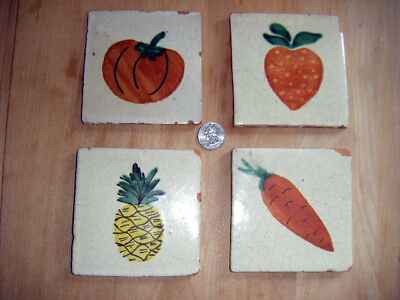 4 antique tile handpainted tiles Fruit & Veggies 4types
