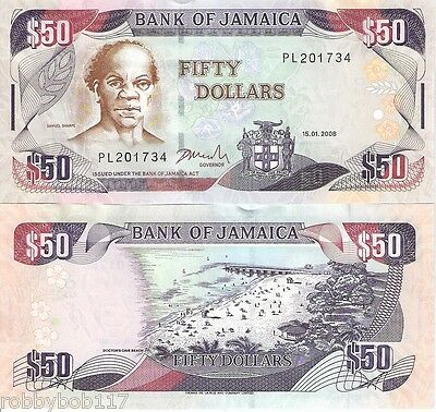 JAMAICA 50 Dollars Banknote World Money Currency BILL p83c 2008 Caribbean Note