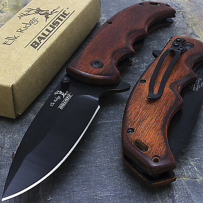 "8.25"" ELK RIDGE EDC BROWN PAKKAWOOD SPRING ASSISTED TACTICAL FOLDING KNIFE Blade"