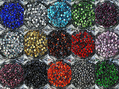 Loose Rhinestones lot of Hot Fix Iron on 3mm (SS10), 22 Colors to choose from