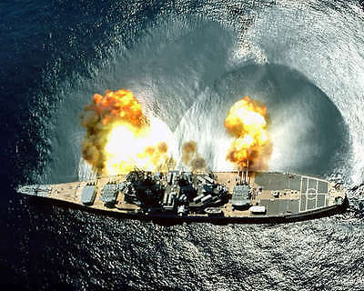 Uss Iowa During Target Exercise 8X10 Photo U.s. Navy