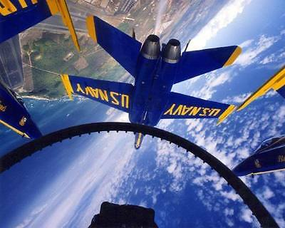 Navy F/a-18 Hornets Blue Angels From Cockpit 8X10 Photo
