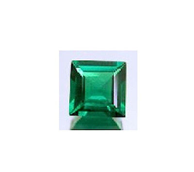 Square Faceted Bright Green Lab Created Hydrothermal Emerald (3x3mm-10x10mm)