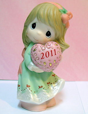 Precious Moments Dated 2011 Girl Holding Heart Figurine ~Christmas~ New