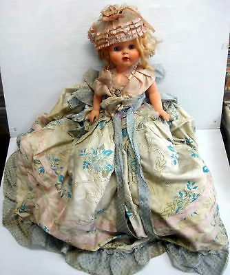 """VINTAGE 20"""" Plastic Doll 1950's? with long dress/Gown"""