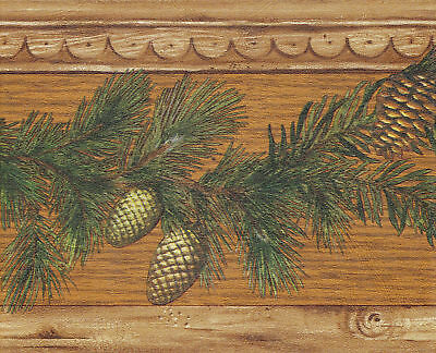 COUNTRY PINE CONES NEEDLES COVE MOLDING Wallpaper bordeR Wall