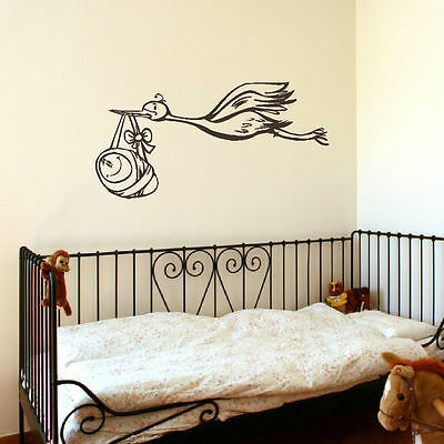 Large Stork Baby Nursery Child Wall Bedroom Mural Sticker Transfer Vinyl Decal