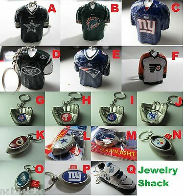 NFL MLB SHIRT SHAPED/HAND GLOVE SHAPED/FLASH LIGHT KEY CHAIN GREAT FOR GIFT