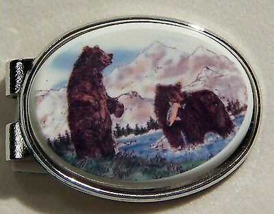 Money Clip Oval Barlow Scrimshaw Carved Painted Art Bears Fishing Silver 539619c