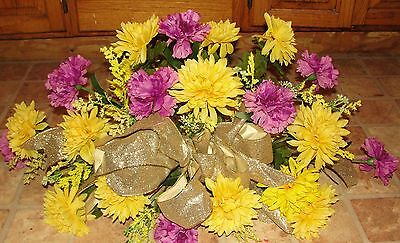 Autumn Fall Headstone Cemetery Memorial Grave Flowers Purple Carnation Yellow