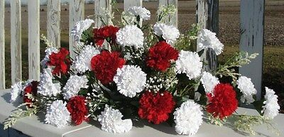 Happy Valentines Day Red White Carnations Centerpiece Cemetery Altar Receptions