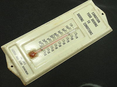 Vintage PLANT DRIVING CONDITIONS Metal Thermometer  Advertise Sign - FREE SHIP