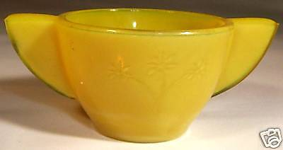 Akro Agate Raised Daisy Yellow Child's Set Sugar Bowl!