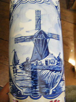 handpainted delft cordial bottle & stopper #'d +signed