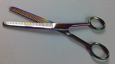 Barber Salon Rainbow Double Edged Hair Dressing Thinning Scissors 6.5 / 6 Inches