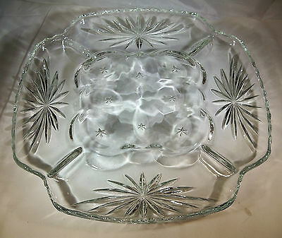 "Anchor Hocking Early American Prescut Crystal 11-3/4"" Deviled Egg Relish Plate!"
