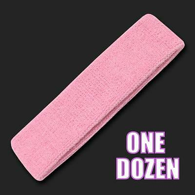 One Dozen Pink Terry Soft Cloth Elastic Sports Headband Headbands Sweatbands