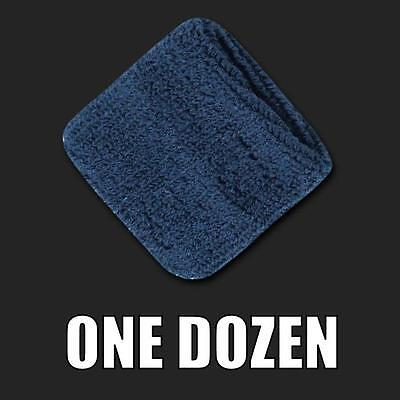 One Dozen Navy Blue Terry Cloth Elastic Sports Wristband Wristbands Sweatbands
