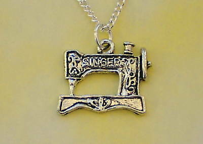 "Singer Sewing Machine Necklace 18"" Silver Chain In Gift Bag Vintage Retro"
