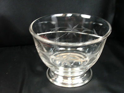 Vintage Heisey Divided Glass Bowl Sterling Silver Base Etched Floral - FREE SHIP