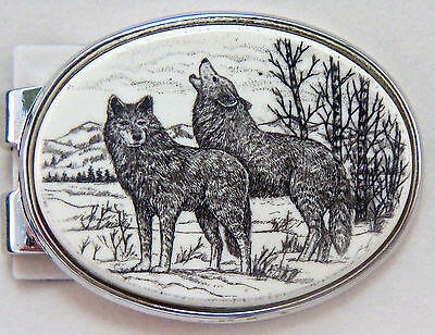 Money Clip Oval Barlow Scrimshaw Carved Painted Art Wolves Wolf Slver 539519