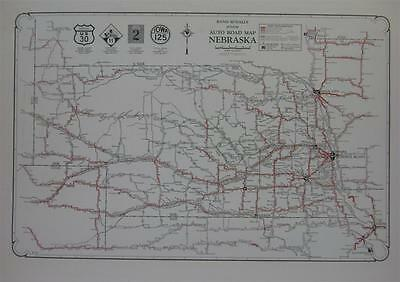 1928 Nebraska Large Commercial Auto Road map* Dirt,, Graded, Improved Rds.