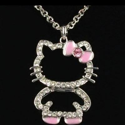 Cute Full body PINK BOW HELLOKITTY CRYSTAL Necklace US SELLER!! FAST SHIPPING!!