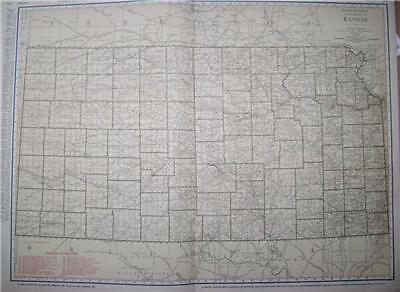1921 Kansas Large 2-pg color Commercial Railroad Map*