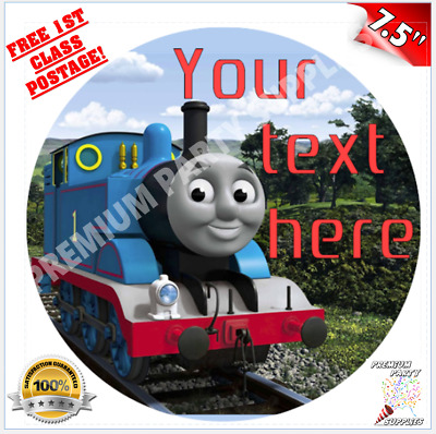 "THOMAS THE TANK ENGINE PERSONALISED Edible Icing Cake Topper 7.5"" Round Pre-cut"