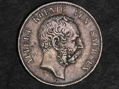 GERMANY-SAXONY 1900E 5 Mark Silver Crown.  H37