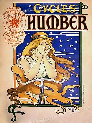 1890 Humber Cycles Art Nouveau Bicycle Advertising Poster - 20x28
