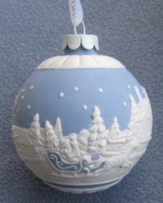 Wedgwood 2010 Blue Jasperware Sleigh Ride Ball Ornament New in Box