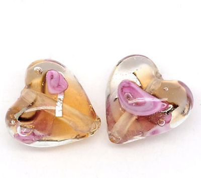 5 x Lampwork Glass Foil Heart Beads Charms Diy Craft - 12mm - L09903