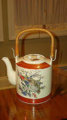 VINTAGE HAND PAINTED SATSUMA JAPAN PEACOCK TEAPOT w/BAMBOO HANDLE ~ BEAUTIFUL