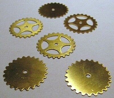 "MIXED Lot of 12 BRASS SPROCKETS~ 25mm / 1"" ~ SteamPunk ~ 6 Solid + 6 Open Style"